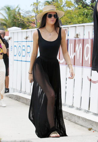 swimwear skirt see through sheer summer outfits kendall jenner hat sunglasses maxi skirt shoes sandals one piece swimsuit black dress black dress