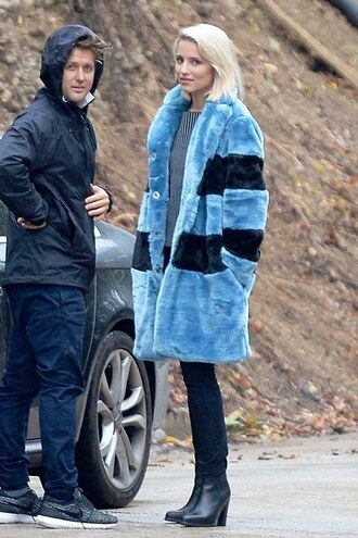 faux fur blue dianna agron coat printed fur coat