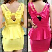 dress,yellow,pink,bow