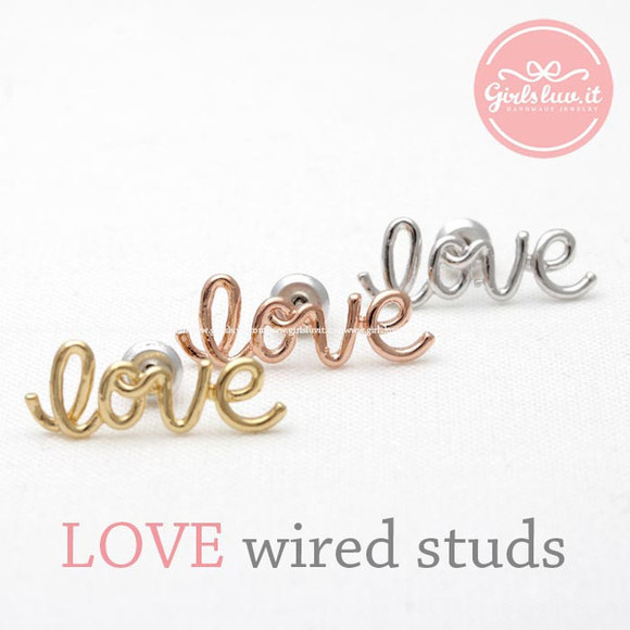 jewels jewelry forever love love wire earrings love earrings best gifts anniversary love studs