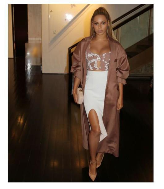 coat skirt slit skirt pumps top crop tops bustier crop top bustier beyonce tank top nude top dress cocktail dress high waisted skirt white skirt shirt