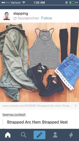 shoes boots stripes pants jacket tumblr outfit striped skirt
