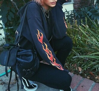 shirt sweater flames long sleeves
