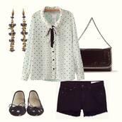 shirt,polka dots,black and white,shorts,earrings,bag,ballet flats,bows