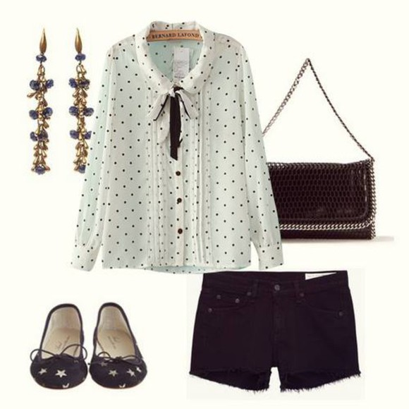 polka dots bag shirt black and white shorts earrings bows ballet flats