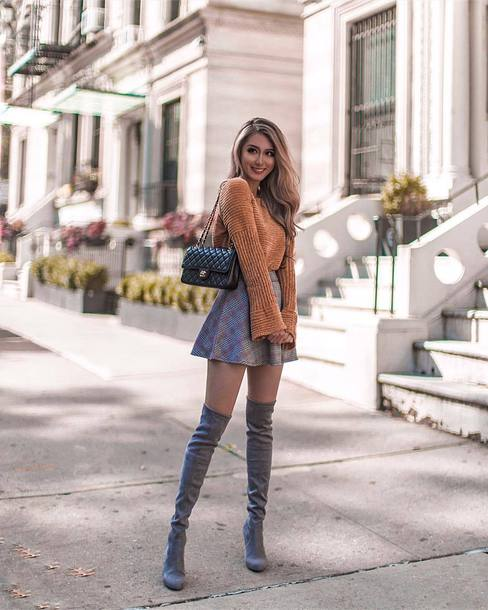 7abfcaeec shoes thigh high boots suede boots mini skirt plaid skirt high waisted skirt  sweater knitted sweater