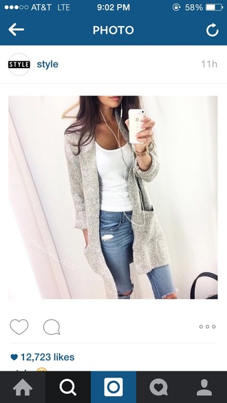 cardigan ripped jeans