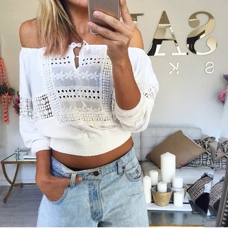 top tumblr outfit off the shoulder top boho shirt