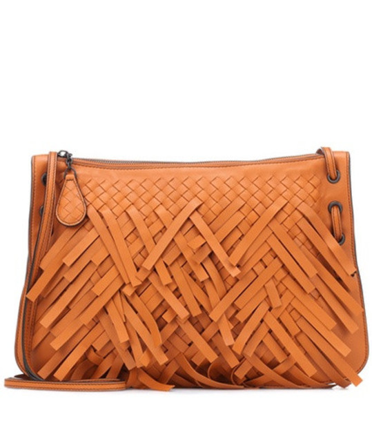 Bottega Veneta Palio Fringes leather shoulder bag in orange