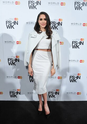 skirt midi skirt crop tops jacket meghan markle white white dress two piece dress set bodycon bodycon dress party dress sexy party dresses sexy sexy dress party outfits sexy outfit summer dress summer outfits spring outfits spring dress fall dress fall outfits winter dress winter outfits classy dress elegant dress cocktail dress red carpet red carpet dress holiday dress holiday season christmas dress cute dress girly dress celebrity celebrity style celebrities in white celebstyle for less suits date outfit birthday dress wedidng clothes wedding clothes wedding guest engagement party dress romantic dress white skirt white top