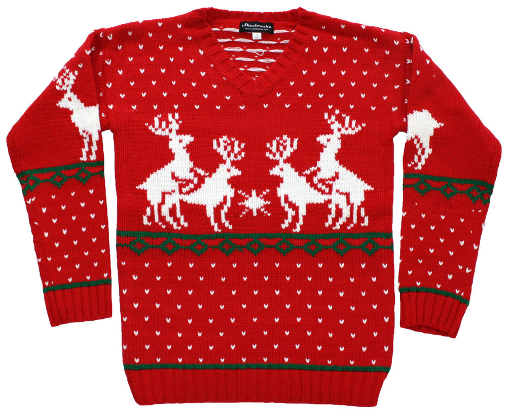 Humping Reindeer Games Men's Naughty Christmas Sweater in Red Funny Ugly | eBay
