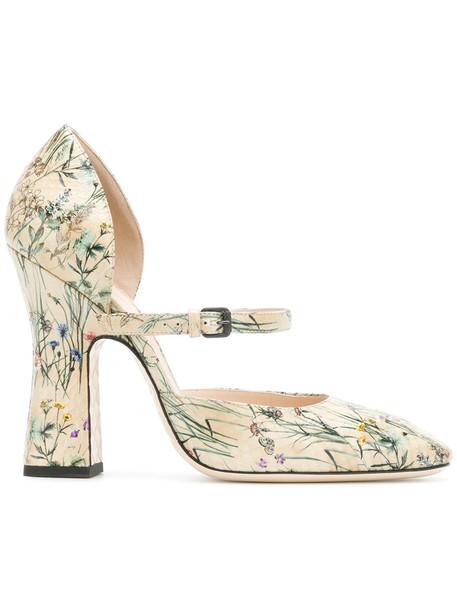 Bottega Veneta women pumps floral leather nude shoes