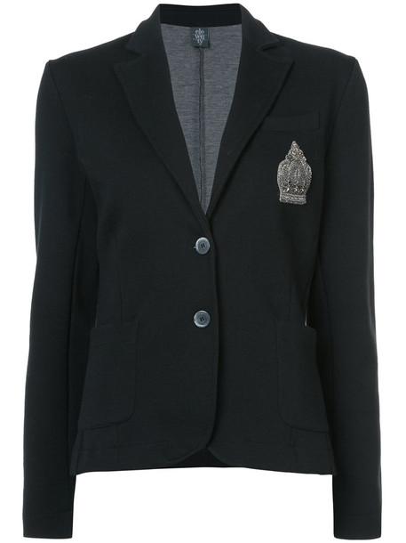 blazer embroidered women cotton black jacket