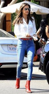 shoes,ankle boots,red,red shoes,alessandra ambrosio,streetstyle,model off-duty,shirt,blouse,top