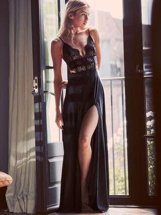 dress black satin victoria's secret black