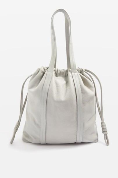 Topshop drawstring bag tote bag leather grey