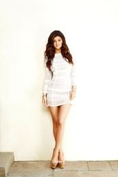 dress,tight,kylie jenner,shoes,white dress,long sleeve dress,mesh dress,see through,mini dress,wedges