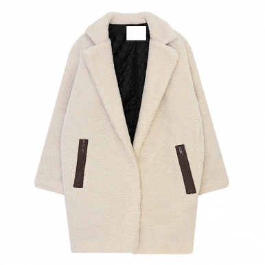 Loose Turn Down Collar Lamb Wool Padded Coat