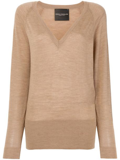 Erika Cavallini jumper women wool brown sweater