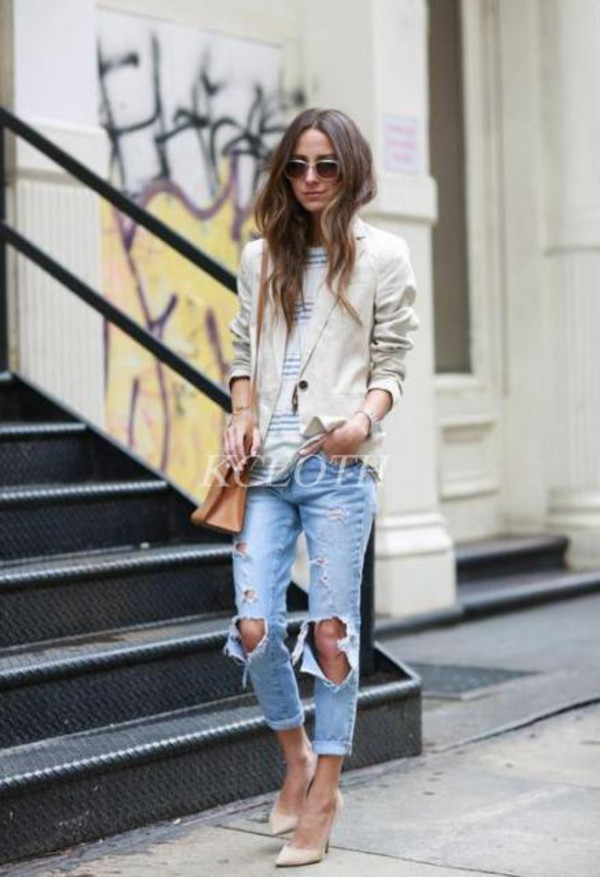 jeans kcloth ripped jeans faded blue light jeans sandal heels