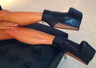 shoes high heels ankle boots leather ankle boots black leather boots wood heels