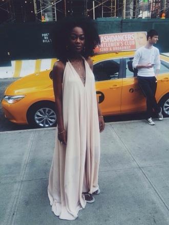 dress beige creme dress flowy dress sundress