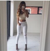 ripped jeans,high waisted jeans,white ripped jeans,skinny jeans,white jeans,crop tops,date outfit,party outfits,skinny pants,white pants,high waisted pants,high heels,heels,sexy shoes,cute high heels,5 inch and up