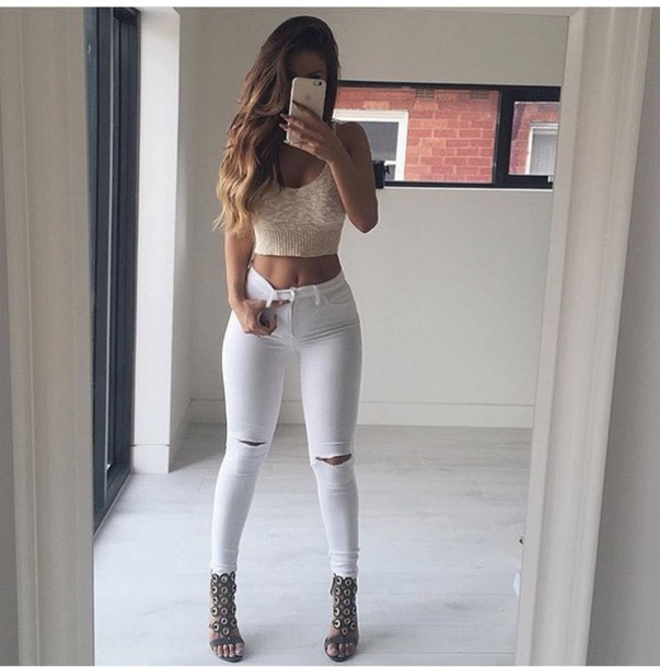 Date Outfit Ripped Jeans - Shop for Date Outfit Ripped Jeans on ...