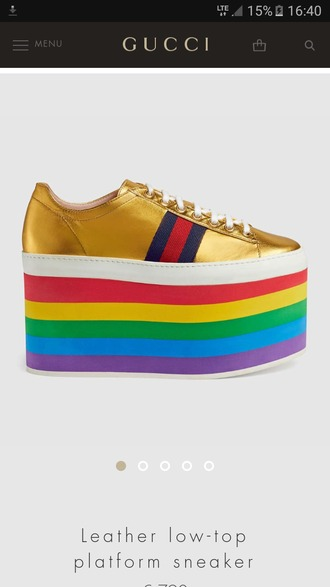shoes rainbow gold platform sneakers sneakers gucci