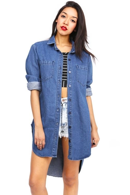 Vibrant denim shirt dress button down loose casual fit dresses sml made in usa