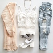 top,white crop tops,white lace top,girly tshirt,girly top,bracelette,jeans,shoes,cardigan,white,open toes,light blue jeans