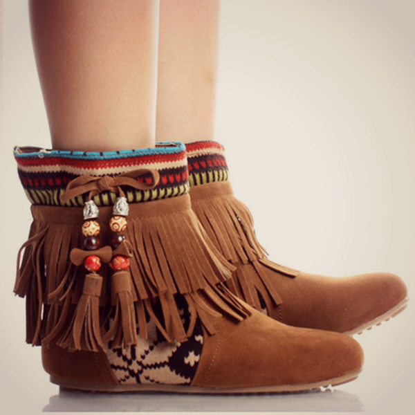 1cf06673333c Tribal Fringe Ankle Boots Moccasin Indian Booties Aztec