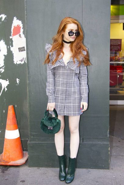 dress madelaine petsch plaid mini dress ankle boots editorial fall outfits fall dress