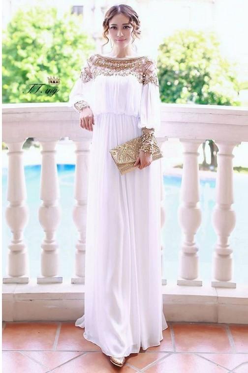 2014 Free shipping floor length heavy beaded chiffon fancy dubai women kaftan abaya evening dress design caftan fashion TK148 -in Prom Dresses from Apparel & Accessories on Aliexpress.com