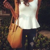 blouse,white,brown,bag,jeans,tank top,top,cute,peplum,brown leather bag,white top,classy top