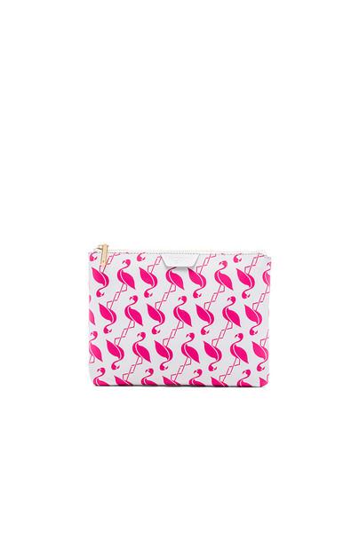 flynn flamingo clutch white