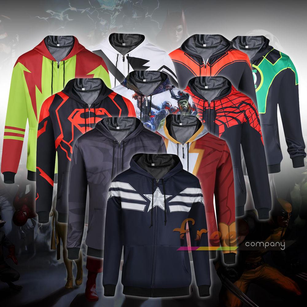 Superhero men's comic superman hoodie hooded sweatshirt coat jacket casual tops