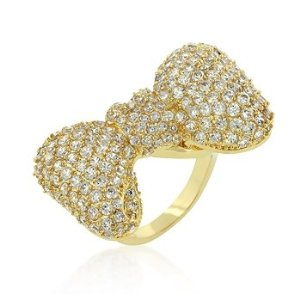 Amazon.com: Cubic Zirconia Encrusted Gold Colored Bow Tie Ring, Clear- Size 8: Jewelry