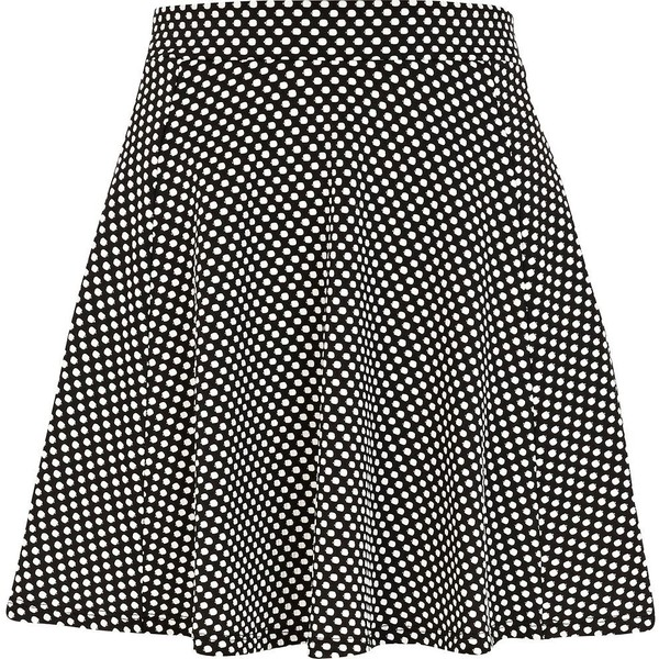 River Island Black and white polka dot skater skirt - Polyvore