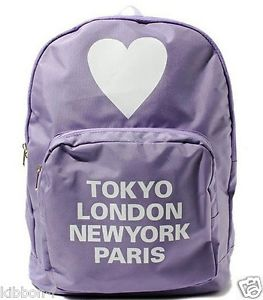 Backpack London Paris Tokyo New York Heart Harajuku Pastel Lilac Kawaii Cute AMO | eBay