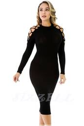 dress,midi dress,black dress,cold shoulder top,little black dress,bodycon dress