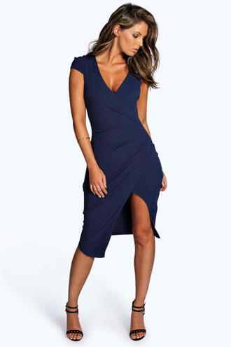 dress navy dress bodycon dress wrap dress boohoo dress party dress evening dress