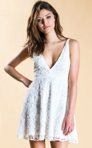 Oh My Love | Lace Plunge Skater Dress