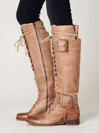 brown leather boots buckles lace up