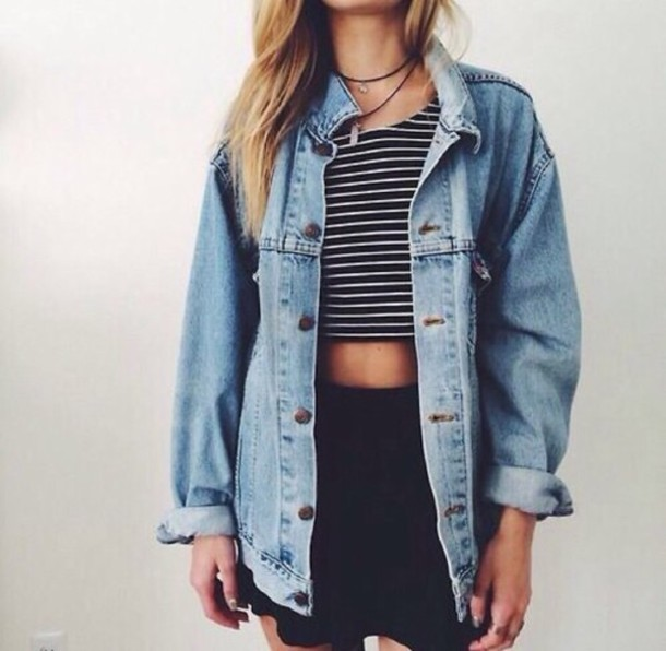 Jacket outfit necklace love acid wash tumblr outfit denim jacket fashion style - Wheretoget