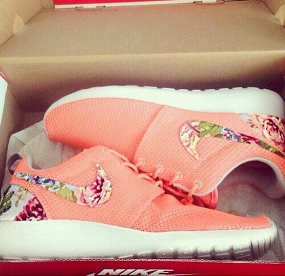 coral shoes nike nike roshes floral nike running shoes floral shoes