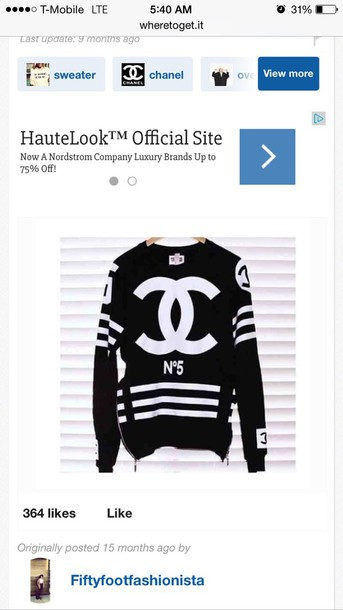 sweater black and white chanel sweater