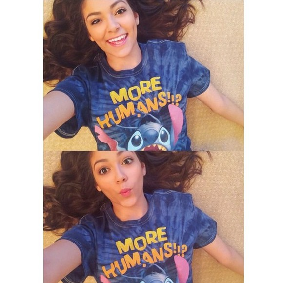 cartoon cute t-shirt disney bethany mota macbarbie07 stitch lilo and stitch lilo&stitch human tie dye youtuber tie dye lilo & stitch shirt