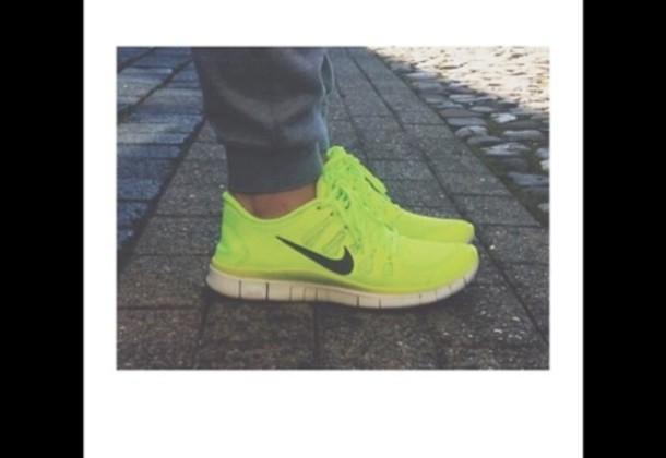 Neon Yellow Nike Running Shoes Shoes nike neon yellow shoes