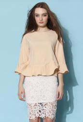 top,chicwish,peplum top,pleated top,beige top,chicwish.com,beige t-shirt